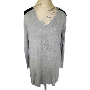 🧚H&M Grey Long Sweater w Black Leather Shoulder